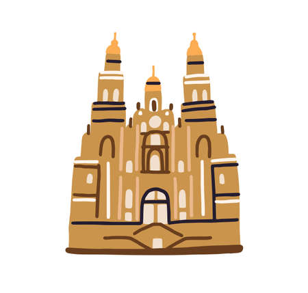 Santiago de Compostela cathedral, famous architectural landmark in Spain. Old building of Spanish catholic church in doodle style. Colored flat vector illustration isolated on white background