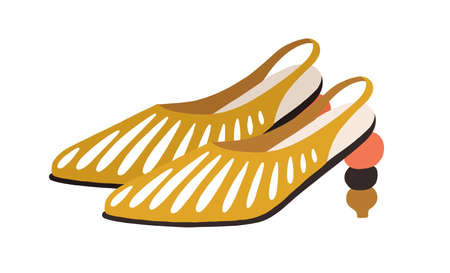 Fashion summer shoes decorated with slits and sculptural heel. Womens trendy footwear with closed toe. Colored flat vector illustration isolated on white background