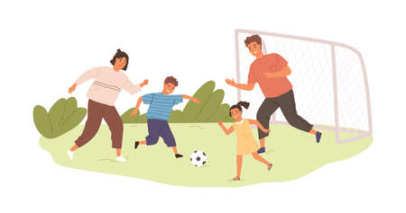 Happy active family playing football or soccer outdoors. Kids and parents spending time together in summer. Colored flat vector illustration of sports game isolated on white background