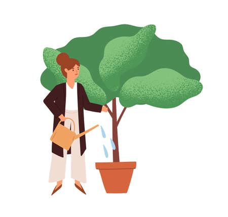 Person watering potted plant. Woman growing and cultivating tree. Businesswoman investing in business growth, career and success concept. Colored flat vector illustration of investor isolated on white