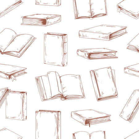 Seamless pattern with flying open and close books in hardbacks on white background. Endless library texture with old textbooks for printing. Hand-drawn vector illustration for wrapping