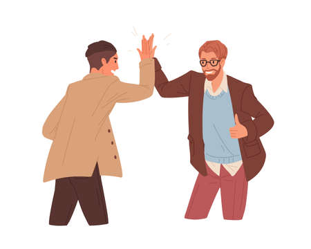 Happy people giving high five, celebrating achievement and success. Successful colleagues gesturing hi. Concept of partnership. Colored flat vector illustration isolated on white background.