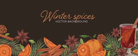 Horizontal banner with hot winter mulled wine, spices and fruits on dark background. Border with cinnamon sticks, pine cones, orange, ginger and cardamom. Hand-drawn colored vector illustration