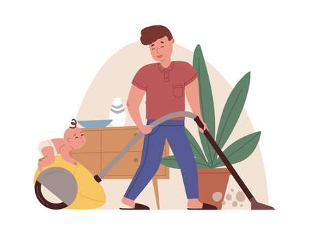 Young father with vacuum cleaner doing household chores with funny baby. Housekeeping and fatherhood concept. Colored flat cartoon vector illustration of dad and toddler isolated on white background