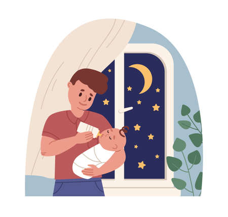 Father holding newborn baby in arms and feeding it from milk bottle. Dad caring about infant. Colored flat cartoon vector illustration of paternity leave and fatherhood isolated on white background