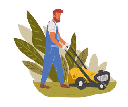 Garden worker mowing lawn with electric push-mower in backyard. Male handyman cutting grass in garden. Colored flat cartoon vector illustration of professional gardener isolated on white background