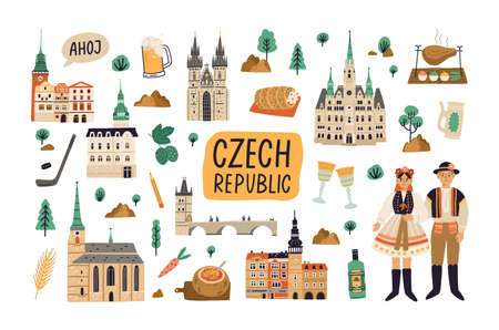 Set of landmarks, buildings, food and drinks of Czech republic. Old architecture, famous palaces, churches, bridges and castles. Colored flat cartoon vector illustration isolated on white background Vektoros illusztráció