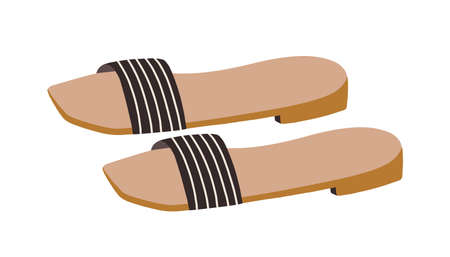 Fashion one-strapped slides or slippers with low heels. Backless summer shoes. Trendy womens footwear. Colored flat vector illustration isolated on white background