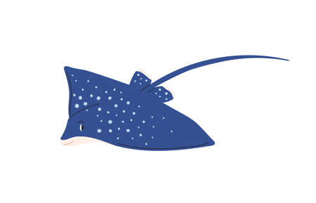 Cute spotty stingray with tail. Marine ray fish isolated on white background. Childish colored flat vector illustration of sea creature with stinger