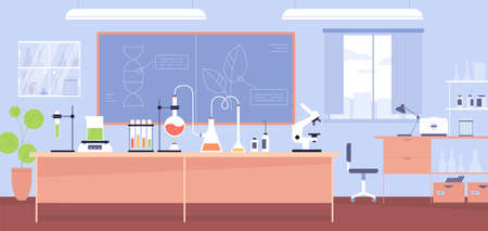 Interior of chemical laboratory with furniture, microscope, flasks and tubes. Experiment in chemistry classroom in school. Colored flat cartoon vector illustration of research room with equipment