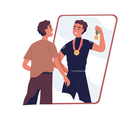 Ordinary man looking at fake mirror reflection and dreaming to be successful strong athlete and sports winner with medals in future. Colored flat vector illustration isolated on white background