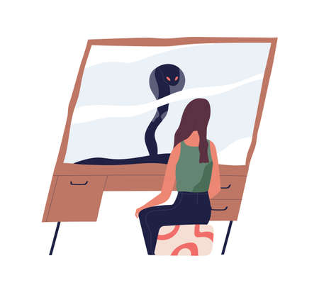 Person looking at true self in mirror reflection. Meeting with shadow personality. Psychological concept of real nature. Flat vector illustration of woman with her evil and scary inner world