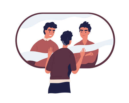 Psychological concept of split personality, bipolar disorder, and divided self. Person with conflicting inner voices of subpersonalities. Colored flat vector illustration isolated on white background Stock Illustratie