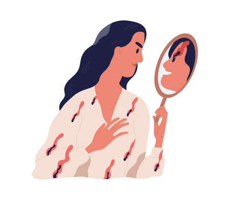 Person looking at mirror reflection with her inner devil. True self and real nature concept. Psychological problems of personality. Colored flat vector illustration isolated on white background