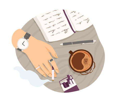 Top view of hand with cigarette, cup of coffee and diary with notes. Writer smoking and writing in notebook. Colored flat vector illustration isolated on white background