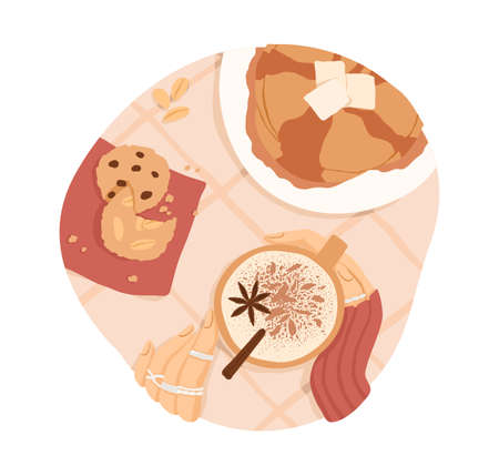 Sweet breakfast or lunch. Top view of pancakes with butter and maple syrup, cookies and hot coffee or cocoa with winter spices. Colored flat vector illustration isolated on white background