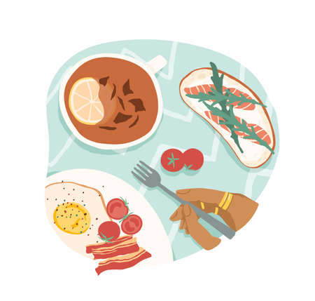 Breakfast or brunch with fried eggs and bacon, cherry tomatoes, sandwich with salmon and tea with lemon. Lunch time. Colored flat vector illustration isolated on white background Stock Illustratie