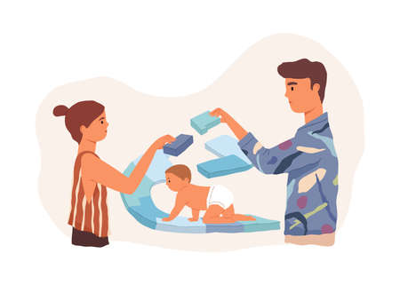 Parents supporting, protecting and giving direction to child on its life path. Family caring, helping and influence on their baby. Colored flat vector illustration isolated on white background Stock Illustratie