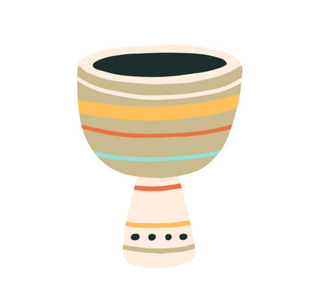 Djembe or African goblet drum. Musical percussion instrument. Colored flat vector illustration of folk jembe isolated on white background