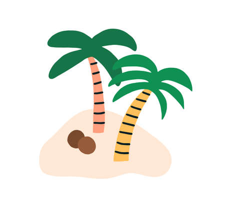 Sandy island with two coconut palm trees and fallen ripe coco nuts. Simple tropical cocopalms. Exotic southern plants. Colored flat vector illustration isolated on white background