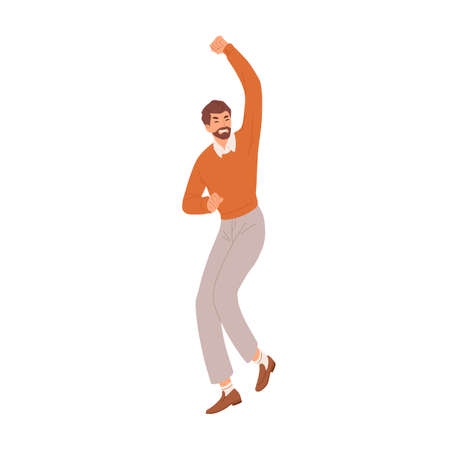 Happy man gesturing with fist up, expressing joy and celebrating success and victory. Delighted and rejoicing employee. Colored flat vector illustration of lucky person isolated on white background Stock Illustratie