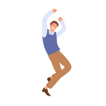 Happy man jumping and dancing from joy and happiness. Successful office worker celebrating victory with fists up. Colored flat vector illustration of excited employee isolated on white background