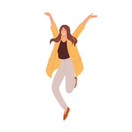 Happy woman jumping up from joy and success. Rejoicing employee celebrating achievement and victory. Delighted successful person. Colored flat vector illustration isolated on white background