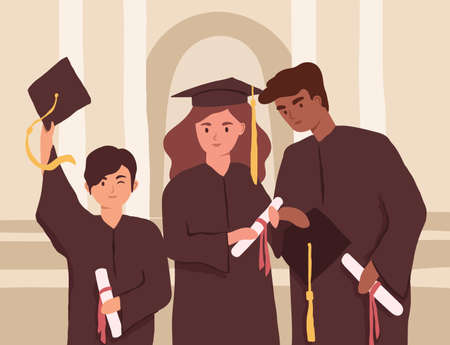 Young graduates holding diplomas during college graduation. Diverse students in caps and gowns. Multiracial university friends. Colored flat vector illustration of people with bachelor s degrees Vektoros illusztráció