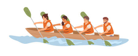 Friendly team rowing in boat together. Concept of effective collaboration and organized teamwork. Good relationship between colleagues. Colored flat vector illustration isolated on white background