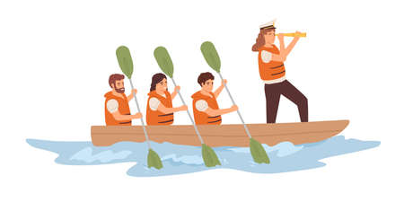 Leader and team of employees rowing in boat toward corporate goal. Concept of strategy, leadership, teamwork and collaboration in business. Flat vector illustration isolated on white background