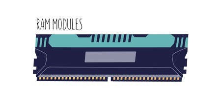Computer memory module or RAM stick isolated on white background. Electronic component with chips. Colored flat vector illustration of PC hardware
