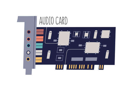 Audio or sound card for personal computer or laptop. Internal PC component with chips, sockets and colored slots. Flat vector illustration of hardware isolated on white background Ilustrace