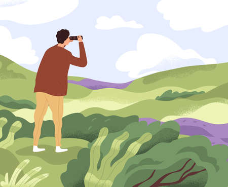 Man with binoculars looking forward in future. Concept of discovering new horizons, finding solutions, searching and exploring opportunities. Colored flat vector illustration of explorer in nature