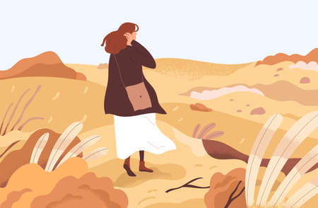 Lost confused person wandering alone through her ruined life. Concept of exploring unknown areas, beginning smth new and starting from scratch. Colored flat vector illustration of woman in wilderness
