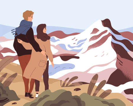 Young couple looking in future with challenges, difficulties and obstacles. Concept of overcoming problems and barriers together. Colored flat vector illustration of people starting their life