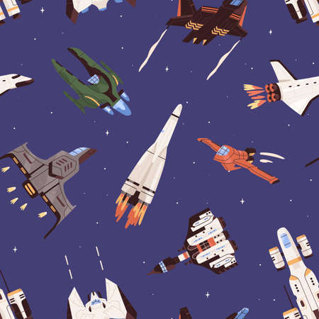 Seamless pattern with spaceships and rockets in space. Endless repeatable background with flying missiles and spacecrafts. Colored flat vector illustration of printable texture with galaxy shuttles