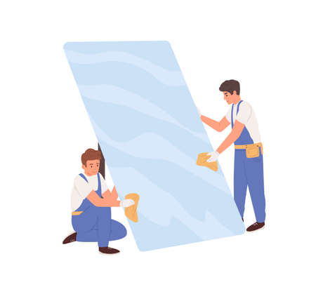 Workers in uniform cleaning big glass. Glaziers installing window or protective phone screen. Colored flat vector illustration isolated on white background