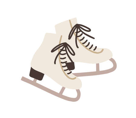 Pair of female ice skates. Hockey shoes with tied shoelaces. Winter sport icon. Colored flat vector illustration isolated on white background