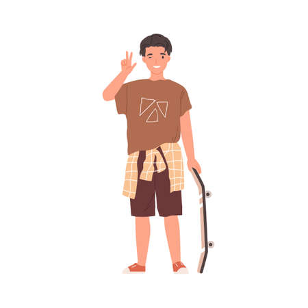 Portrait of happy teenager standing with skateboard, winking and showing V sign. Young skater in street-style clothes. Colored flat vector illustration of cool boy isolated on white background