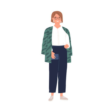 Portrait of happy woman in stylish casual clothes. Smiling modern female character in sneakers, trousers, blouse and jacket. Colored flat graphic vector illustration isolated on white background