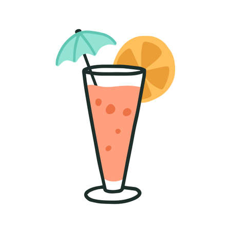 Glass of cold tropical beach cocktail with straw, umbrella and citrus slice. Summer refreshing drink with fruit. Colorful flat vector illustration of fruity beverage isolated on white background Stock Illustratie