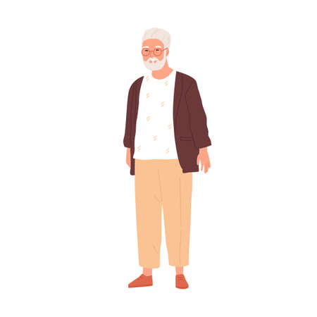 Happy senior gray-haired man in eyewear and modern casual clothes. Portrait of smiling aged grandpa in stylish outfit. Flat vector illustration of retired grandfather isolated on white background Stock Illustratie