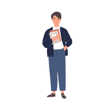 Young college student standing with books. Schoolboy holding textbooks in hand. Portrait of smiling teenager. Colored flat vector illustration of smart man isolated on white background