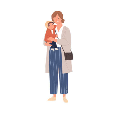Happy single mother holding her baby in hands. Portrait of modern woman carrying little child. Young smiling mom and infant. Colored flat vector illustration isolated on white background