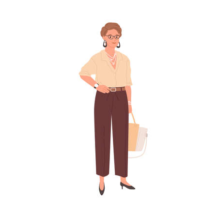 Portrait of smiling businesswoman standing in formal stylish clothes. Woman in trousers and blouse. Mature employee in modern outfit. Colored flat vector illustration isolated on white background Stock Illustratie