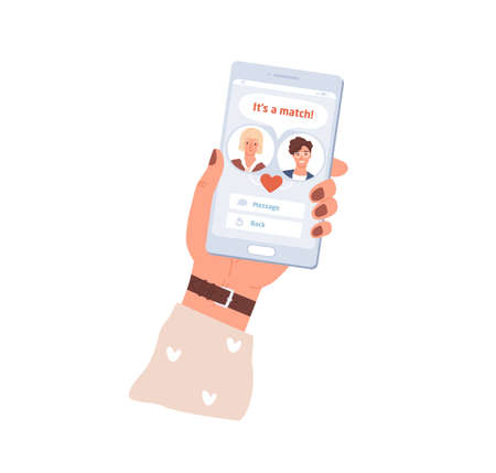 Female hand holding mobile phone with dating app interface. Couple match in online application on smartphone. Virtual pair building. Colored flat vector illustration isolated on white background