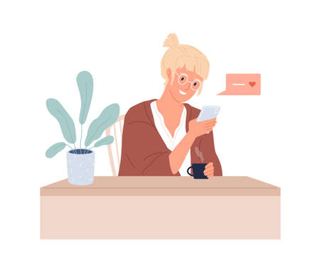 Woman with mobile phone texting to boyfriend online. Love app user writing message in dating app. Female character chatting in internet. Colored flat vector illustration isolated on white background