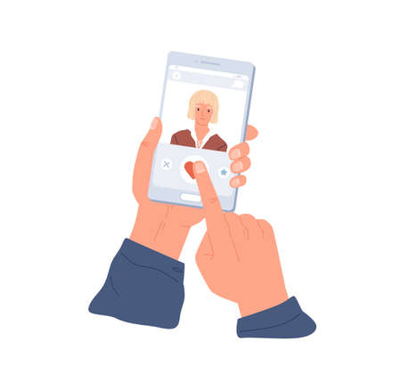 Male hands holding mobile phone and liking womans profile in dating app. Smartphone display with application for online love dates. Colored flat vector illustration isolated on white background