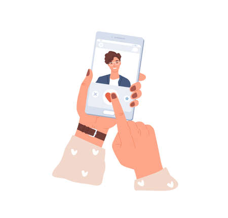 Female hands holding mobile phone and liking mans photo in dating app. Smartphone screen with application for online love dates. Colored flat vector illustration isolated on white background