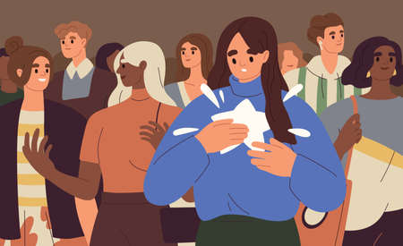 Person finding, realizing and paying attention to unique talents and differences from other people. Psychological concept of human authenticity, otherness and uniqueness. Flat vector illustration